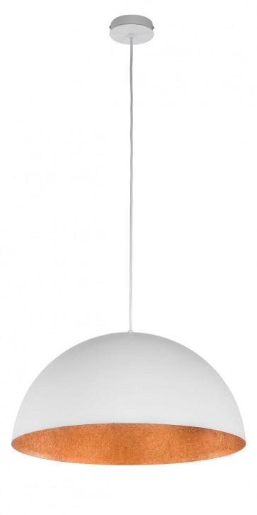 TUBA suspension diam 69,5cm exterieur Blanc intérieur Cuivre E27 60W