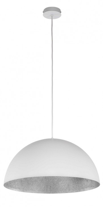 TUBA suspension diam 69,5cm exterieur Blanc intérieur Argent E27 60W