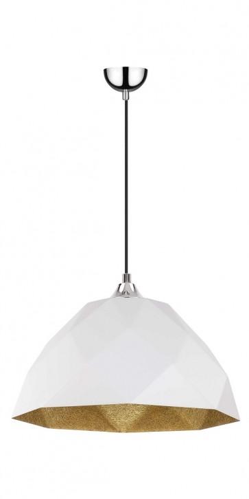 RICH suspension diam 35cm E27 60w chrome,extérieur blanc, intérieur or