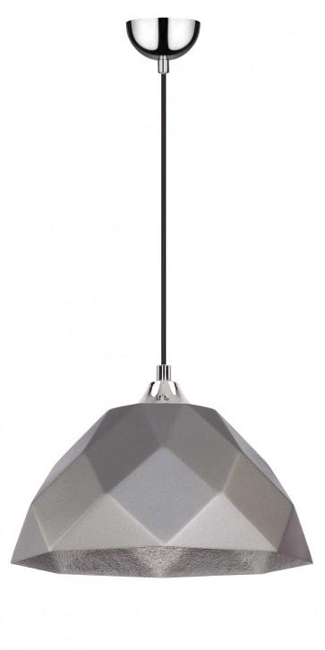 RICH suspension diam 35cm E27 60w chrome,cable noir, extérieur gris argent, intérieur argent