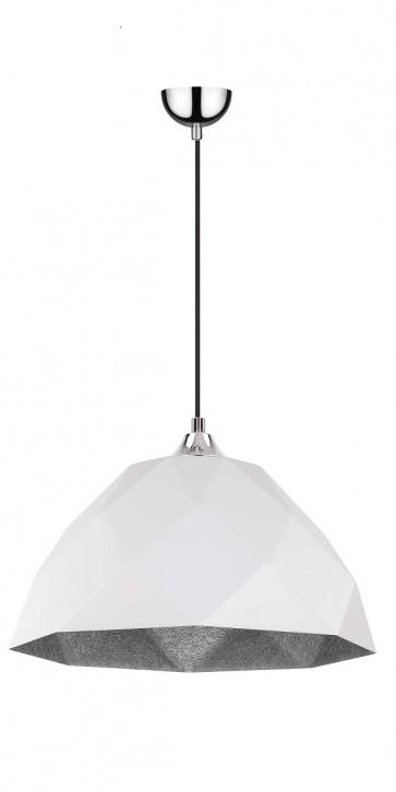RICH suspension diam 35cm E27 60w chrome,extérieur blanc, intérieur argent