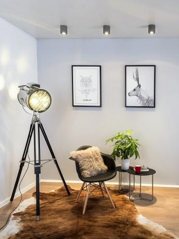 MOVIE lampadaire E27 60W aluminium et noir haut 164cm