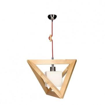 TRIGONON suspension bois abat jour carré E27 60W maxi chêne/rouge