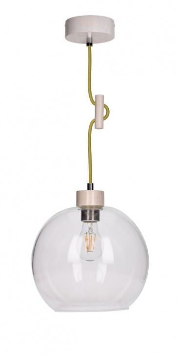 SVEA suspension E27 60W bois chene blanchis et verre cordon tissu jaune vert olive