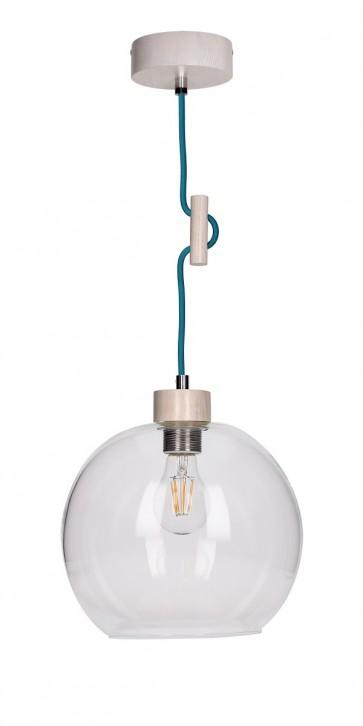 SVEA suspension E27 60W bois chene blanchis et verre cordon tissu turquoise
