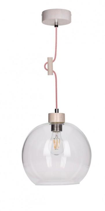 SVEA suspension E27 60W bois chene blanchis et verre cordon tissu rouge et blanc