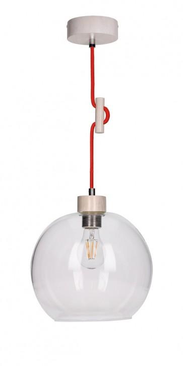 SVEA suspension E27 60W bois chene blanchis et verre cordon tissu rouge