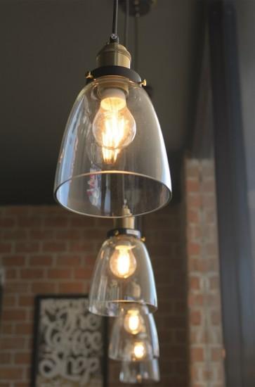 CONRAD lampe suspendue 1XE27 60W noir/laiton antique/transparent