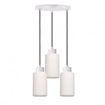 BOSCO plafonnier suspension 3 lumières E27 60w maxi chêne blanchis câble anthracite et verre blanc diam 33cm