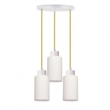 BOSCO plafonnier suspension 3 lumières E27 60w maxi chêne blanchis câble verre olive et verre blanc diam 33cm