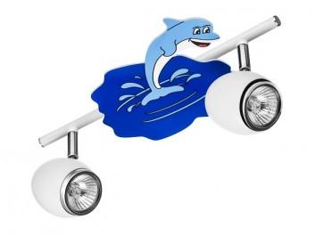 DELFIN barre de 2 spots gu10 max 50w Enfant thème Dauphin L33cm Bleu et Blanc