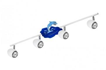 DELFIN barre de 4 spots gu10 max 50w Enfant thème Dauphin L79cm Bleu et Blanc