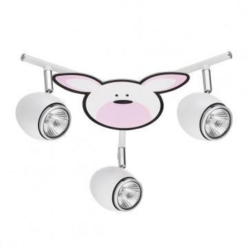 RUBBY plafonnier 3 spots GU10 50W maxi theme enfant lapin rose et blanc diam 40cm