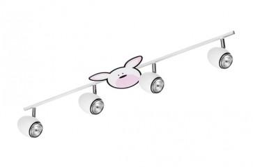 RUBBY barre de 4 spots GU10 50W maxi theme enfant lapin rose et blanc Long 81cm