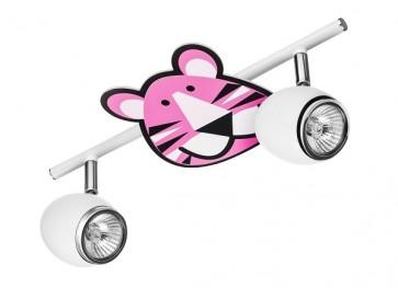 LENNY barre de 2 spots GU10 maxi 50w métal blanc enfant animaux Tigre rose violet