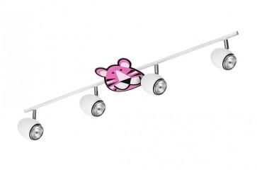 LENNY barre de 4 spots GU10 maxi 50w métal blanc enfant animaux Tigre rose violet