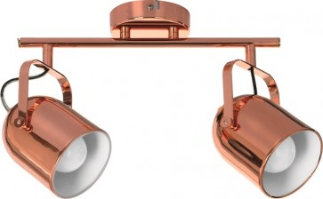 INGA barre de 2 spots E27 60w cuivre Long 38.5cm
