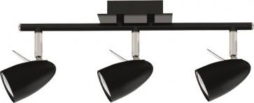 IAN barre de 3 spots Noir GU10 LED 4.5w 3x360 lumens 3000k