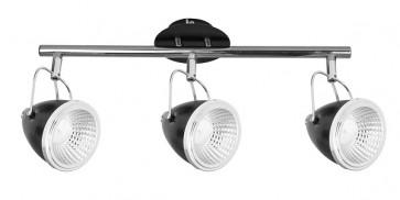 OLIVER barre de 3 spots chrome noir GU10 led 5W 1350 lumens avec ampoule