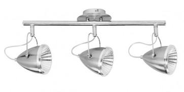 OLIVER barre de 3 spots argent satiné GU10 led 5W 1350 lumens avec ampoule