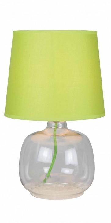 MANDY lampe à poser E14 40W pied transparent abat jour vert haut 35cm