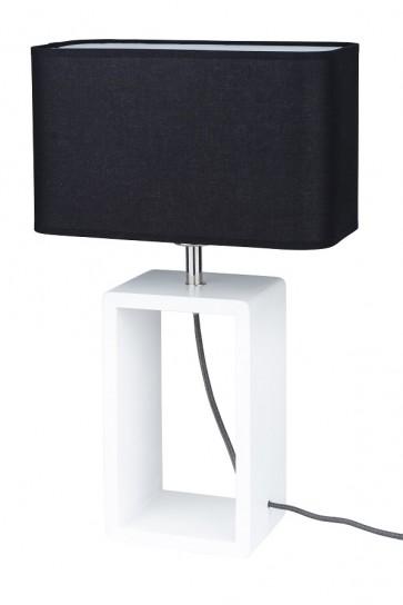 lampe de table blanc abat jour noir 1XE27 25W haut 48cm CADRE TALL