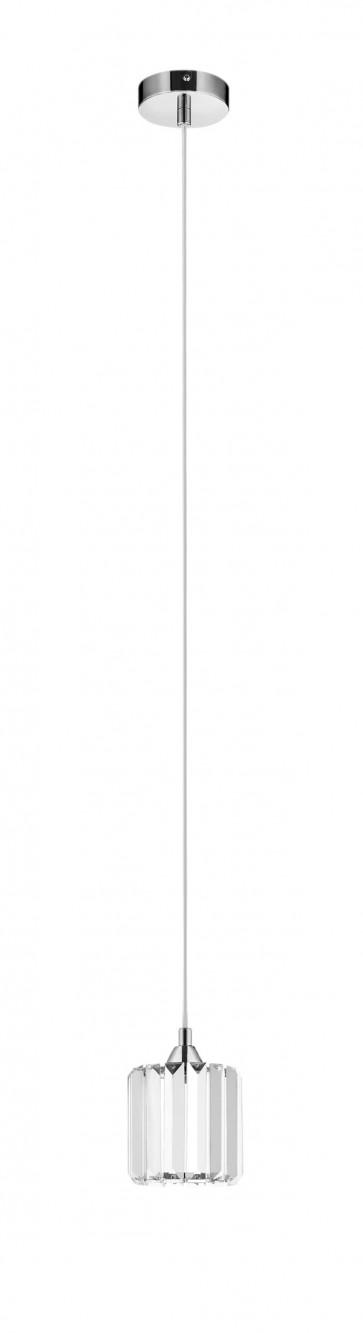 MERILO suspension chrome et verre diam 12cm 1L E27 60W