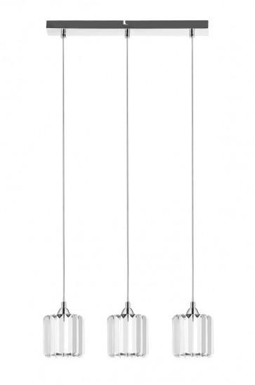 MERILO barre chromé avec 3 suspensions verre E27 60w maxi Long 52cm