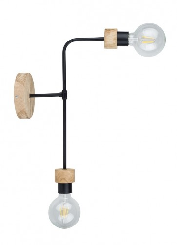 montix-applique-2-lumieres-e27-60w-lg-45cm-chene-huile-tube-metal-noir