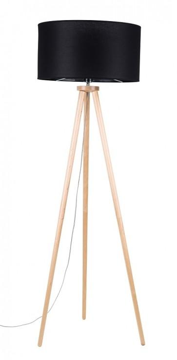ENNIE trepied bois bouleau haut 160cm abat jour noir diam 50cm 74103060 britop