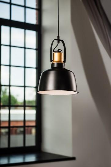 HERMAN suspension diam 23 cm métal noir intérieur blanc dessus cuivre E27 60W