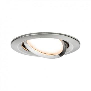 Kit de 1 spot encastré LED Coin Slim Orientable - Acier Brossé - 6.8W - 592LM  - 2700K - IP23 - non dimmable - Paulmann