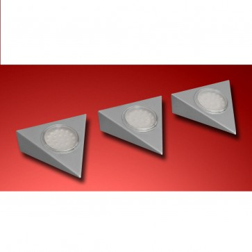 KIT 3 SPOTS LED SMD TRIANGLE acier brossé