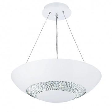 Suspension HALO Led coupelle blanc décor cristal 3448-8WH