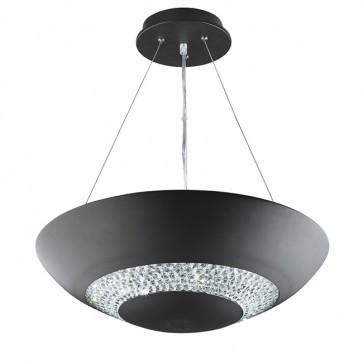 Suspension HALO Led coupelle noir décor cristal 3448-8BK