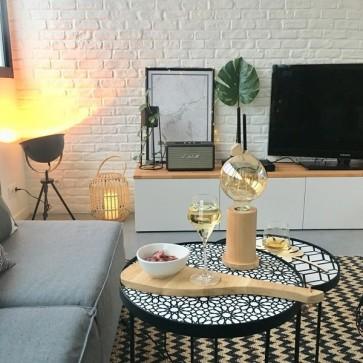 lampe de table 1xE27 60w diam 10cm H15cm chêne huilé TASSE promotion ampoule led filament incluse