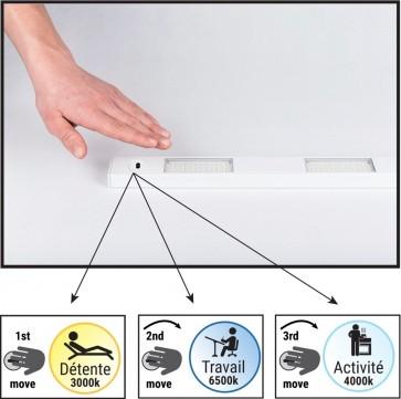 Réglette TEO Led 3L 3,5w 300 Lumens hand sensor métal blanc 3000k-6500k-4000k