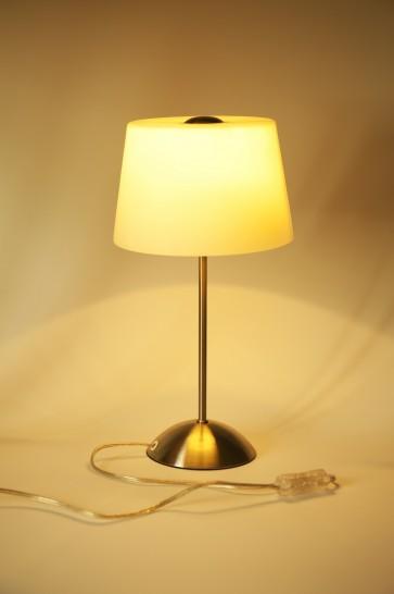 Lampe à poser TOKIO Acier Brossé Verre blanc E14 maxi 40W hauteur 38cm