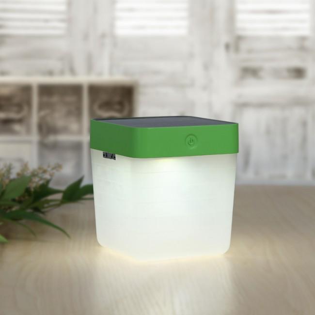 Lampe De Table Cube Solaire Vert 3 Intensites