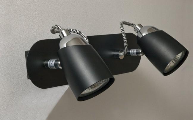 Applique Murale 2 Spots Nomat Noir Gu10 2 X 35w Eco Energie
