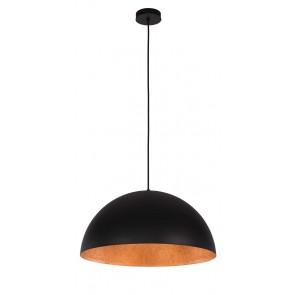 TUBA suspension diam 35cm exterieur Noir intérieur Cuivre E27 60W