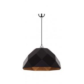 RICH suspension diam 35cm E27 60w chrome,extérieur noir, intérieur cuivre