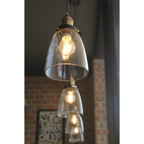 CONRAD lampe suspendue 1XE27 60W noir/laiton antique/transparent