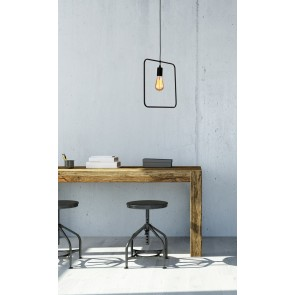CARSTEN suspension rectangulaire E27 60W noire