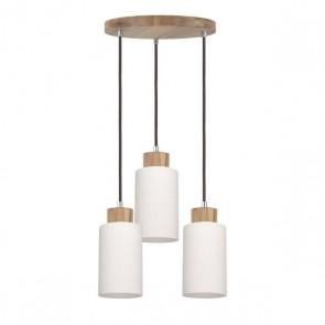 BOSCO plafonnier suspension 3 lumières E27 60w maxi chêne et verre diam 33cm
