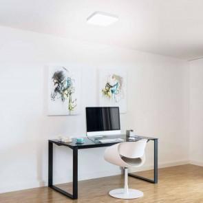 hublot led IP44 CLII 24w 1800 lumens carré plastique blanc diffuseur blanc 3000k diam 28cm muller licht office Square