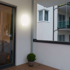 hublot led IP44 CLII 24w 1800 lumens rond plastique blanc diffuseur blanc 3000k diam 28cm muller licht Naxo