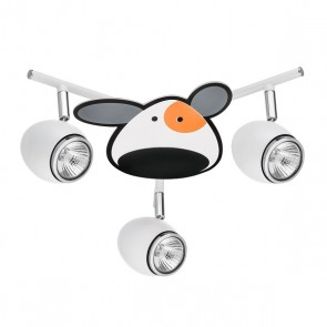 DOGGY plafonnier spirale 3 spots  3XGU10 50W blanc/chrome dessin animaux chien