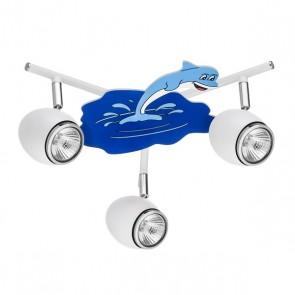 DELFIN plafonnier 3 spots gu10 max 50w Enfant thème Dauphin diam 40cm Bleu et Blanc