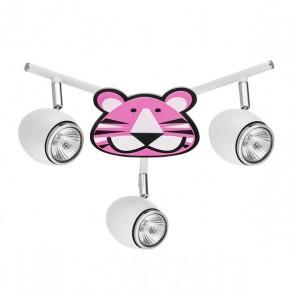 LENNY plafonnier 3 spots GU10 maxi 50w métal blanc enfant animaux Tigre rose violet